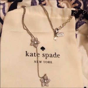 Kate Spade NWT Silver Blooming Pave Drop Necklace